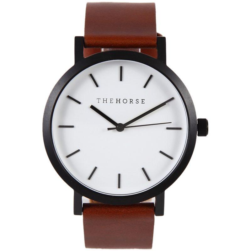 THE HORSE時計(ザホース腕時計)のTheOriginalシリーズ時計ブラック/ホワイトフェイス/タンレザー